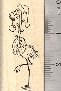 Christmas Flamingo Rubber Stamp, Tropical Holiday, with Wrea