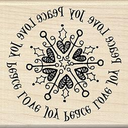 Inkadinkado Christmas Mounted Rubber Stamp 3X3-Peace Love Jo