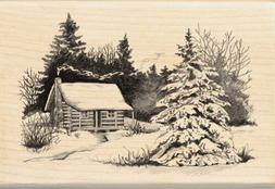 christmas mounted rubber stamp snowy