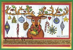 CHRISTMAS REINDEER ORNAMENTS Wood Mounted Rubber Stamp NORTH