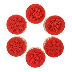 DECORA 6 Pieces Snowflake Floral Wooden Rubber Stamps for Ca