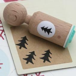 Christmas Tree Rubber Stamp Round - VERY MINI - Craft / Pape