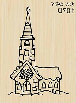 Christmas Village Church Rubber Stamp By DRS Designs