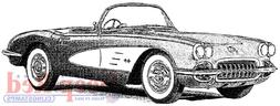 Deep Red Stamps Classic Corvette Rubber Cling Stamp