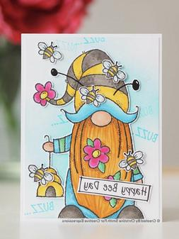 Woodware clear acrylic stamp set - BEE GNOME