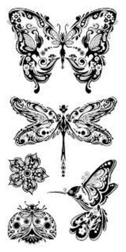 Inkadinkado Clear Acrylic Stamps Mindscapes Butterfly Dragon