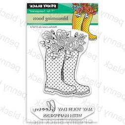 Penny Black Clear Stamps Blossoming Boots 759668306862