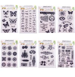 Clear Stamps for Cards Making 8 Sheets Scrapbook Rubber Sili