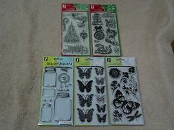 INKADINKADO CLEAR STAMPS SET OF 5 BRAND NEW 40 STAMPS FLOWER