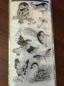Inkadinkado Clear Stamps 4X8 Sheet-Patterned Birds & Bugs