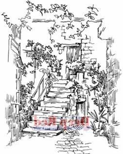 "Deep Red Stamps 4X605543 Cling Stamp, 3"" x 4"", Courtyard Sta"