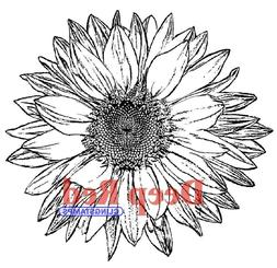 Deep Red Cling Stamp-Large Sunflower