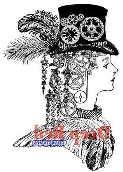 """Deep Red Cling Stamp, 3"""" x 4"""", Steampunk Lady"""