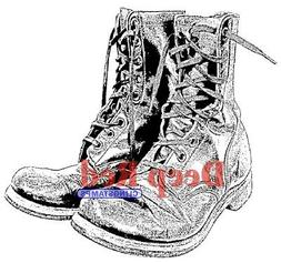 Deep Red Cling Stamp-Combat Boots