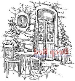 Deep Red Cling Stamp 3X3-Dining Alfresco