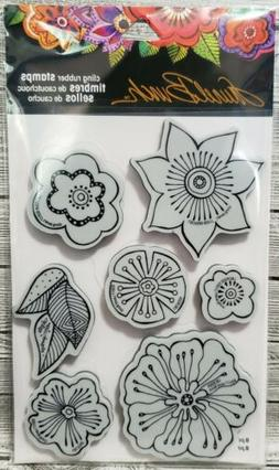 Stampendous Cling Flower Blossoms Rubber Stamp & Stencil LBC
