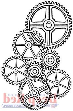 Deep Red Cling Stamp-Gears Background