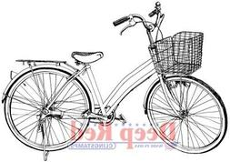 Deep Red Cling Stamp 2.25X3.5-Girls Bicycle