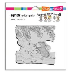cling mounted rubber stamp house mouse snow