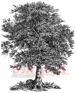 Deep Red Cling Stamp-Oak Tree
