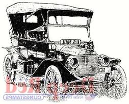 Deep Red Cling Stamp 2X2-Old Mail Truck