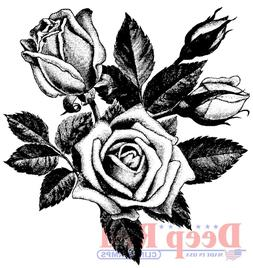 Deep Red Cling Stamp-Rose Blooms