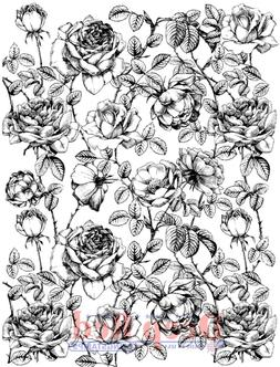 Deep Red Cling Rubber Stamp Rubber Stamp Rose flower Backgro