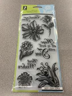 Inkadinkado Cling Rubber Stamp Set Floral Expression Thank Y
