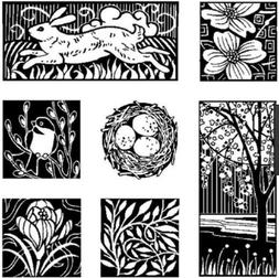 Inkadinkado Cling Rubber Stamp Set Holiday Easter Squares Sp