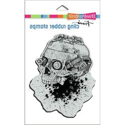 Stampendous Cling Rubber Stamp Steampunk Skull Halloween