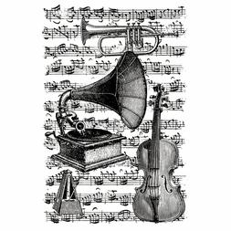Artemio Cling Stamps 3.93X5.7-Musical Instruments W/Score Ba