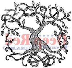 "Deep Red Stamps 3X405612 Deep Red Cling Stamp 2.1""X2""-Tree O"