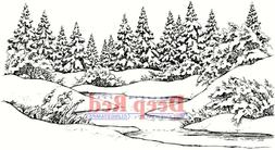 Deep Red Cling Stamp 4X2-Winter Stream