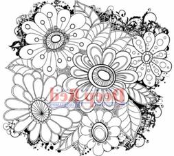 Deep Red Stamps Color Me Daisies Rubber Cling Stamp