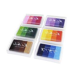 6 Pieces Colorful Gradient Ink Pads for DIY Rubber Stamps Pa