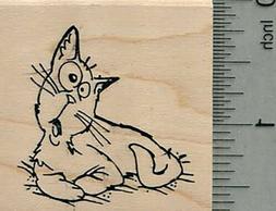 comic cat rubber stamp e35316 wm