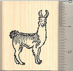 comic llama rubber stamp wood mounted h7707