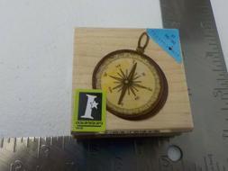 Inkadinkado Compass Pendant Wood Mounted Rubber Stamp NEW A8