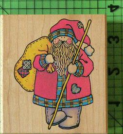 Country Santa With Patched Bag rubber stamp by Rubber Stampe