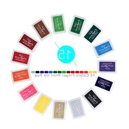 Ink Pads,15 Colors Ink Pads for Rubber Stamps,DIY Scrapbooki