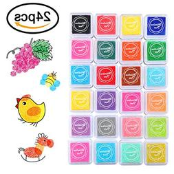 COCODE Craft Ink Pad, 24 Colors Finger Ink Pad Rainbow Ink P
