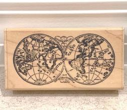 Paper Inspirations Craft Rubber Stamp WORLD MAP G0107 NEW