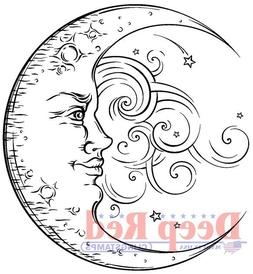 Deep Red Stamps Crescent Moon Rubber Cling Stamp