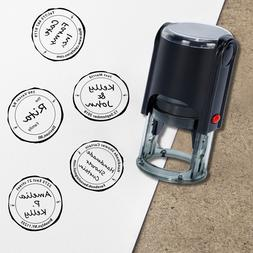 Custom Monogram Stamp-Delicate Round Self Inking Rubber Stam