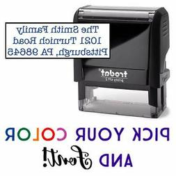 Address Stamp, 1-5 Lines of Text Custom Stamp, Self-Inking A