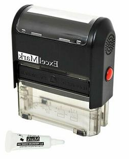 Custom Self Inking Rubber Stamp - 3 Lines - with Ink Bottle