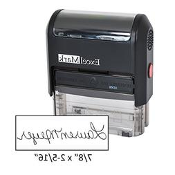Custom Signature Stamp - Self Inking - Black Ink - Large