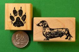 Dachshund Dog Rubber Stamp set of   Wood Mounted