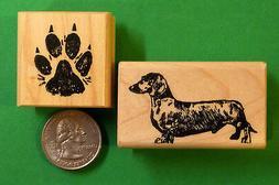 dachshund dog rubber stamp set of 2