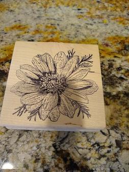 Magenta -Daisy Flower Rubber Stamp